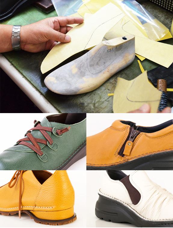 靴の木型から、日本人の足に合う靴を作っています。